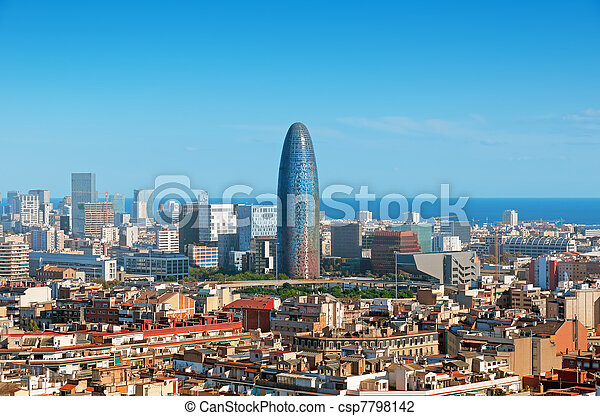 Barcelona`s skyline with skyscrapers including Torre Agbar. - csp7798142