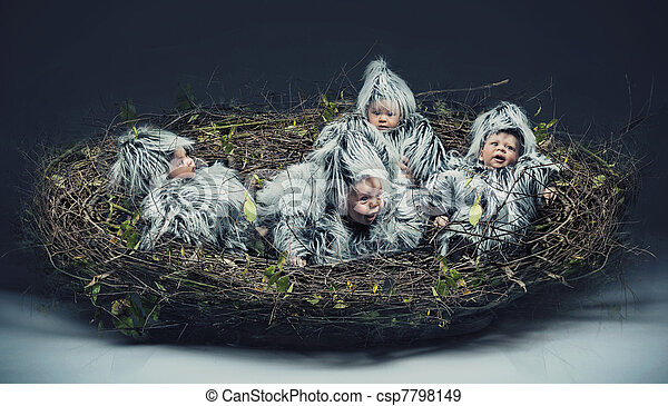 Multiple scene of a bird-child in the nest - csp7798149