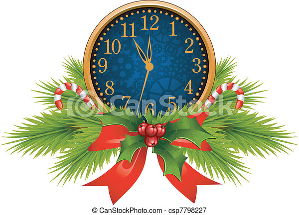 Vectors Illustration of Decorated Clock (New Year's Eve) over ...