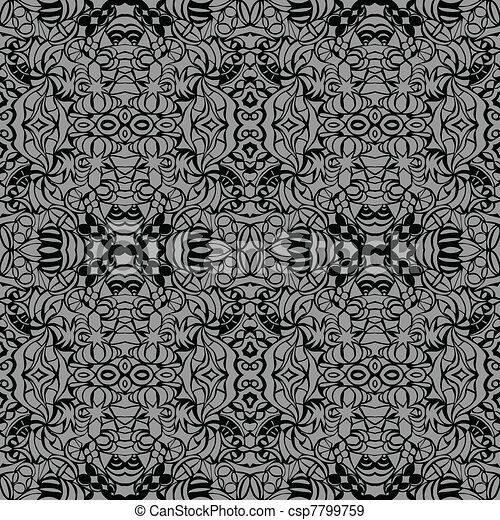 Grey art deco seamless pattern - csp7799759