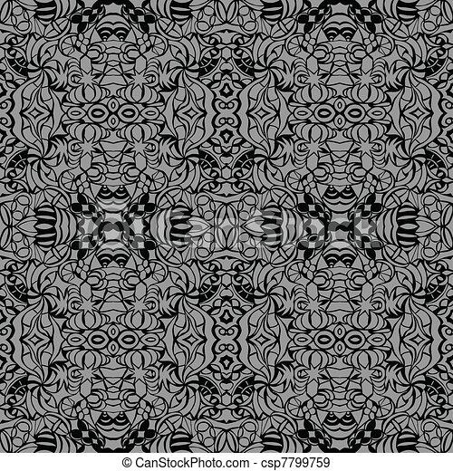 Grey art deco seamless pattern - csp7799759