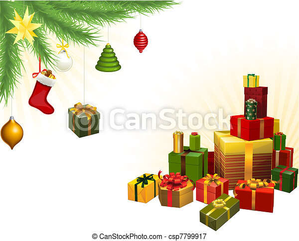 Christmas tree decorations and gifts - csp7799917