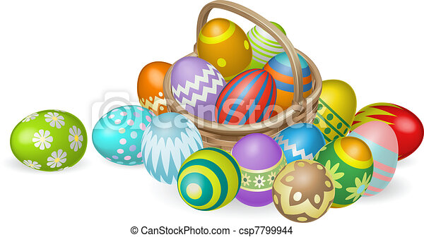 Painted Easter eggs in basket illustration - csp7799944