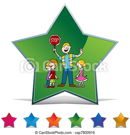 Crossing Guard and Children Walking Button Set - csp7800916