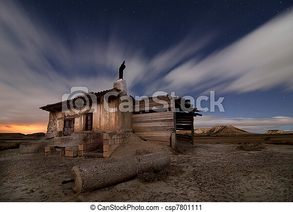 Shepherd hut at desert night - csp7801111