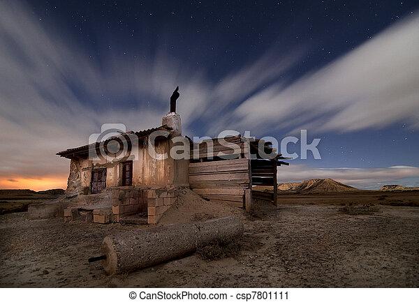 Shepherd hut at desert night - csp7801111