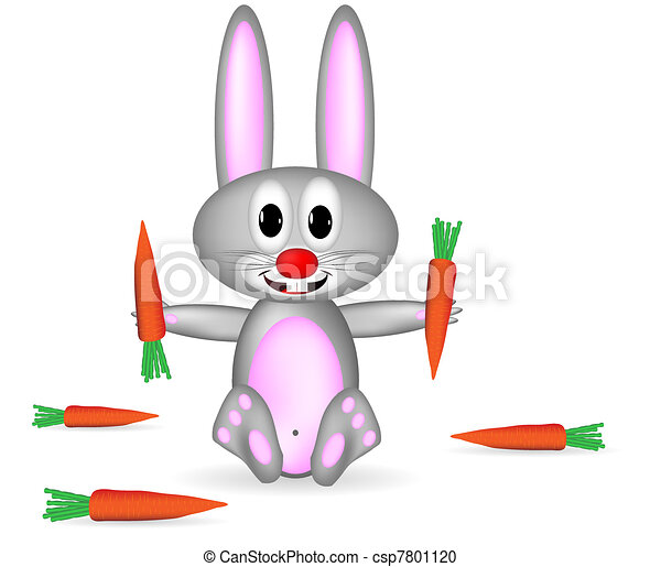 Vector Clipart of Rabbit and carrot - Small rabbit and carrots on ...
