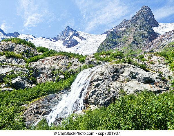 mountain waterfall  - csp7801987