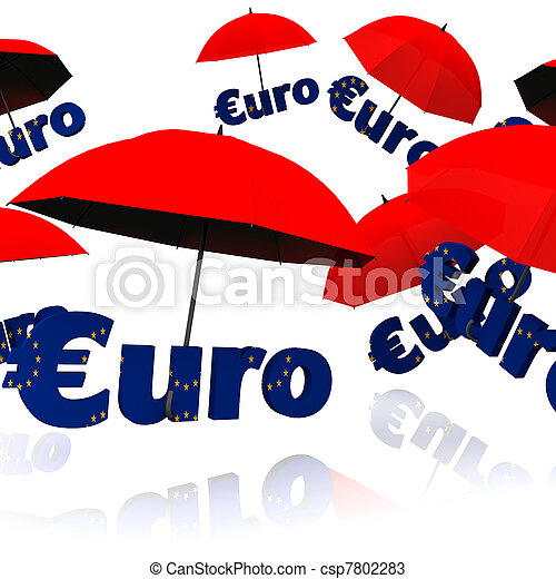 Euro bailout fund, red umbrella with the word euro - csp7802283