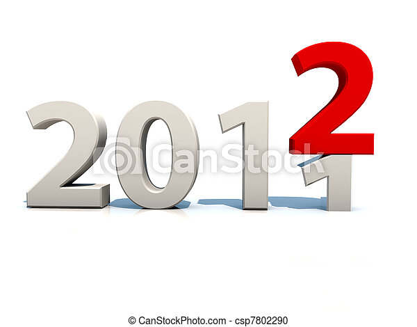 new year 2012 over white background - csp7802290