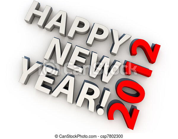 Happy new year 2012, over white background - csp7802300