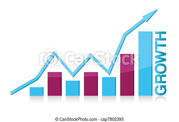 Blue and purple growth graph - csp7802393