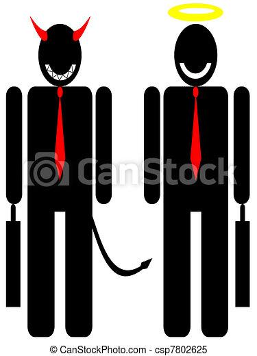 businessman avatar angel and davil - csp7802625