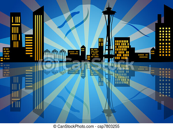 Reflection of Seattle City Skyline at Night - csp7803255