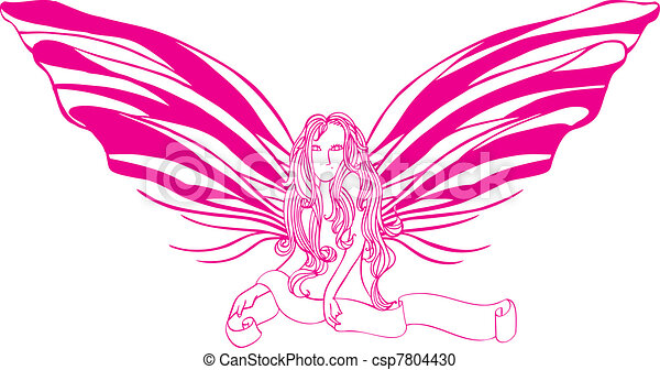 Stock Illustration of Butterfly Lady - A half body sexy lady with ...