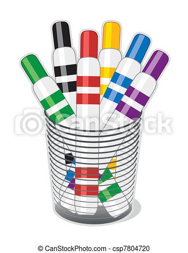 Vector - Marker Pens - stock illustration, royalty free illustrations