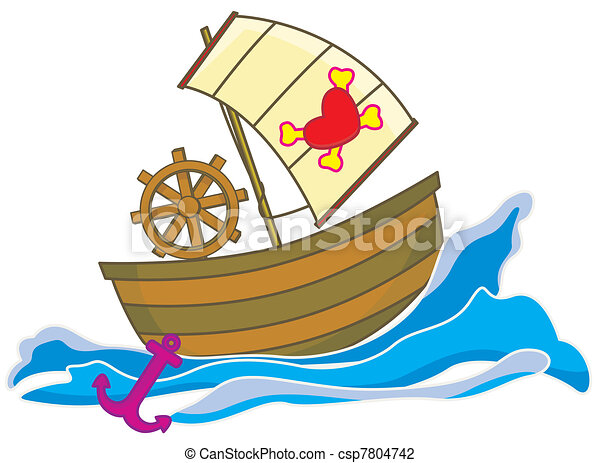 Clip Art of Pirate boat - a pirate ship in the sea moving fast with... csp7804742 - Search ...