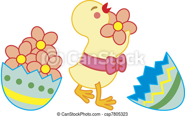 Chick collect flowers - csp7805323