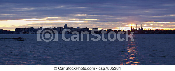Sunset panorama of Madison - csp7805384