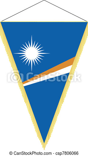 Vector image of a pennant with the national flag of Marshall Islands - csp7806066