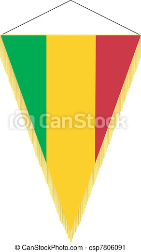 Vector image of a pennant with the national flag of Mali - csp7806091