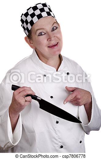 images de femme chef cuistot uniforme tenue cuisine couteau csp7806778 recherchez des. Black Bedroom Furniture Sets. Home Design Ideas