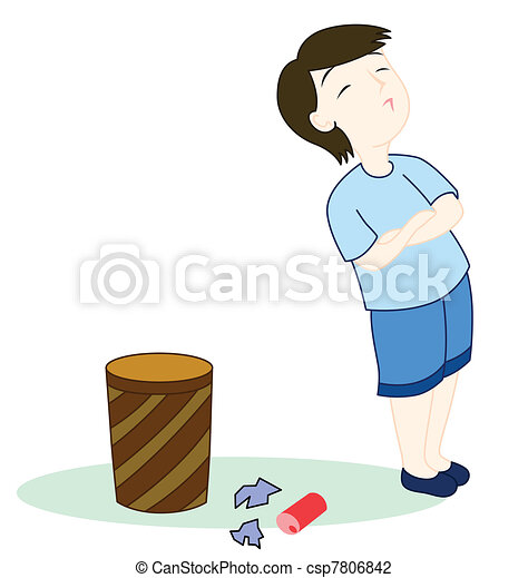 Kid with rubbish - csp7806842