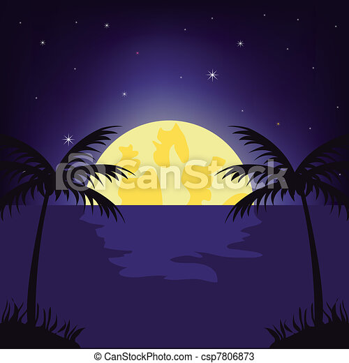 Moon night in tropic - csp7806873