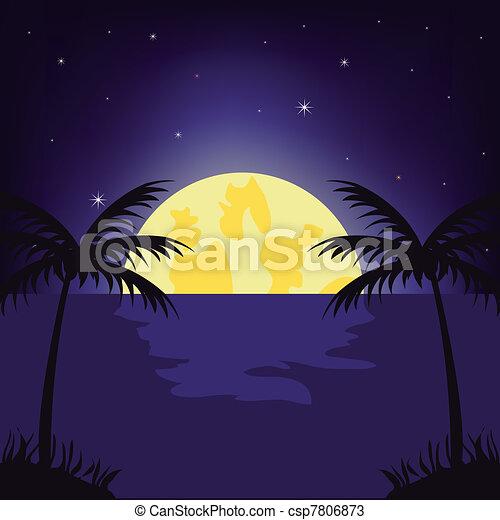 Moon night in tropic - csp7806873