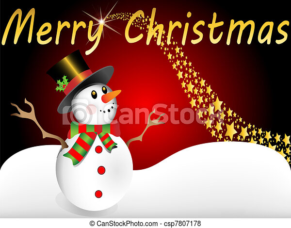 snowman wishes merry christmas - csp7807178