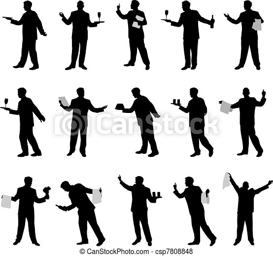 Waiter vector silhouettes - csp7808848