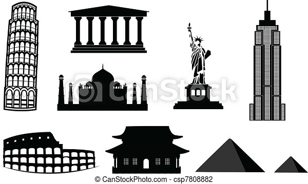 landmarks vector silhouettes - csp7808882