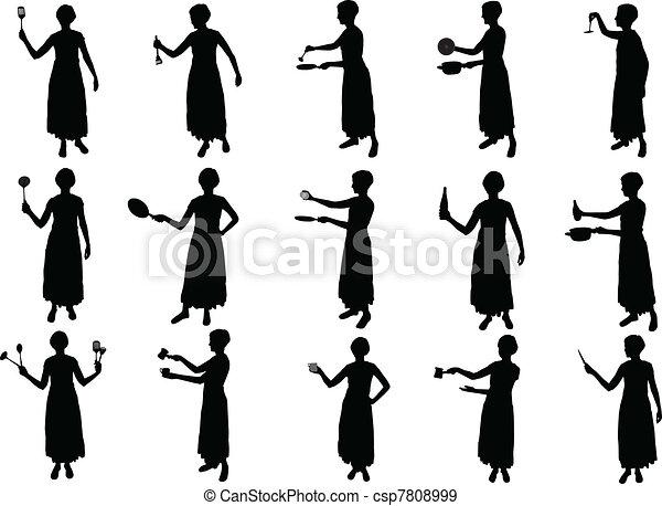 Eps vector van meisje het koken silhouettes csp7808999 zoek naar clip art illustratie - Beeld het meisje van ...