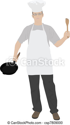 illustration of young kitchen chef - csp7809000