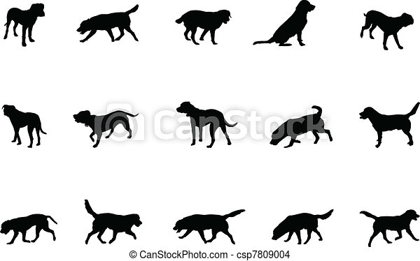 dogs silhouettes  - csp7809004