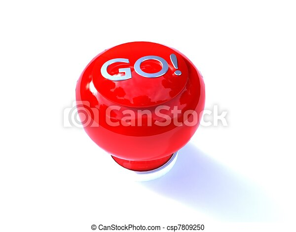 3d illustration of a red buzzer button GO written on a white background - csp7809250