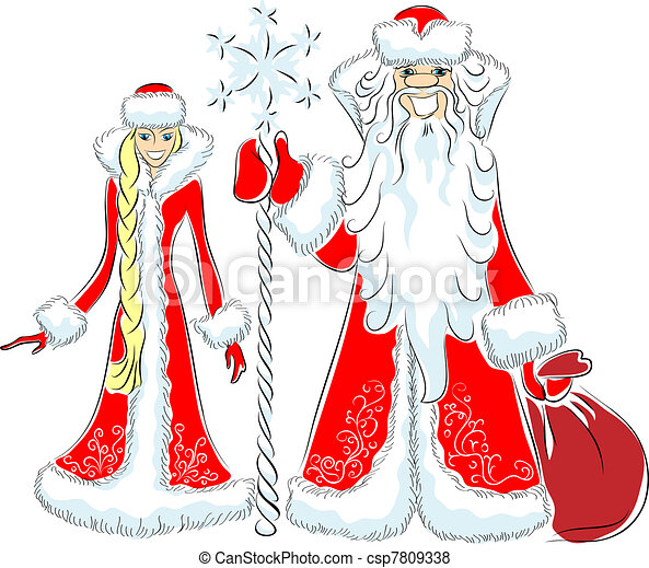 vector a happy Father Frost and Snow Maiden - csp7809338