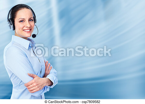 Call customer center operator woman. - csp7809582