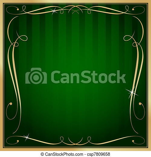 Green and Gold Blank Square Striped Ornate Vector Background - csp7809658