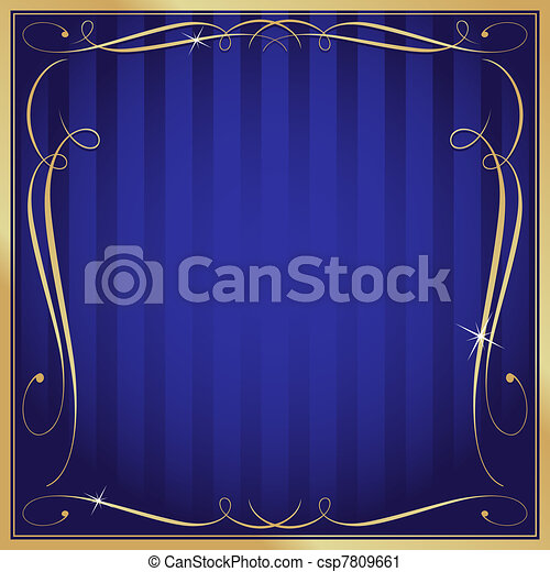 Blue and Gold Blank Square Striped Ornate Vector Background - csp7809661