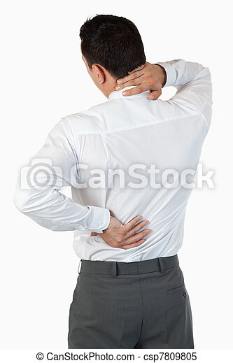 Portrait of the painful back of a businessman - csp7809805
