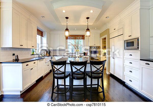 images de blanc grand luxe moderne cuisine sombre plancher csp7810115 recherchez. Black Bedroom Furniture Sets. Home Design Ideas