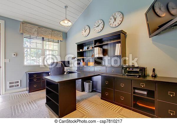 Plaatje van blauwe moderne thuis kantoor interieur for Kantoor interieur design