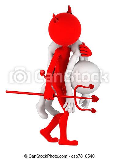 Devil carrying businessman on shoulder - csp7810540