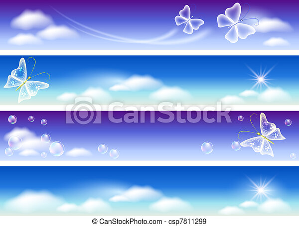 Set of banners for website with sky panorama - csp7811299