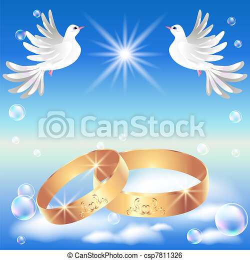 Card with wedding ring and dove csp7811326