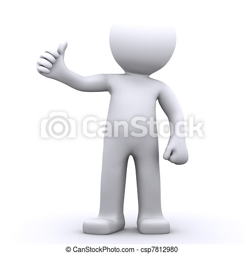 3d character man showing thumbs up - csp7812980