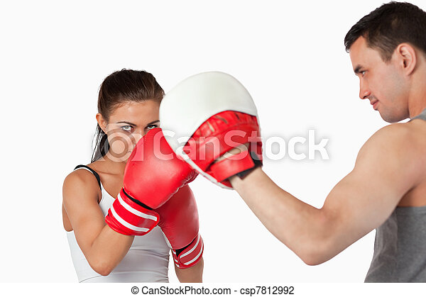 Female boxer with strong fighting spirit - csp7812992