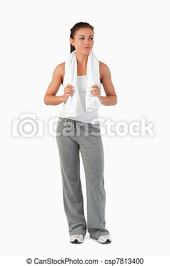 Young female with towel after workout - csp7813400