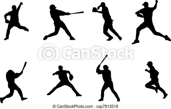 Baseball Player Art Baseball Players Silhouettes